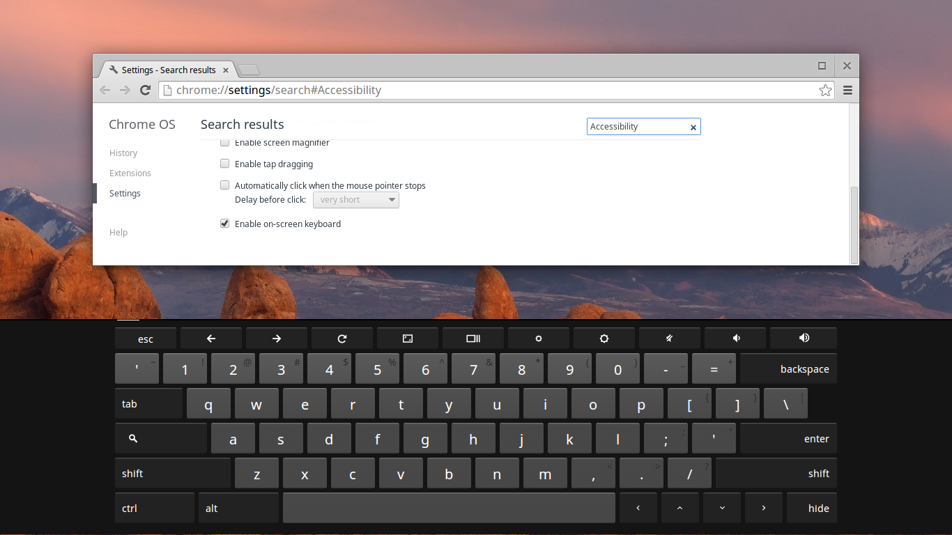 how to turn off on screen keyboard in chrome